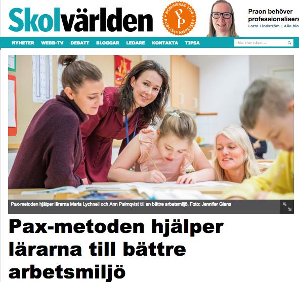 Skolvärlden: Pax-metoden hjälper lärarna till bättre arbetsmiljö
